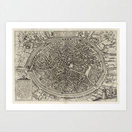 Vintage Map of Bruges Belgium (1612) Art Print