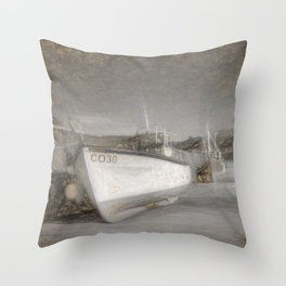 Fishing Boat in Nefyn Throw Pillow