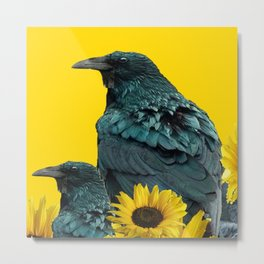 TWO CROW/RAVEN BIRD PORTRAITS & SUNFLOWERS GOLD  ART Metal Print