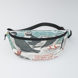 1960 FRANCE Atlantic Puffins Nature Conservation Stamp Fanny Pack