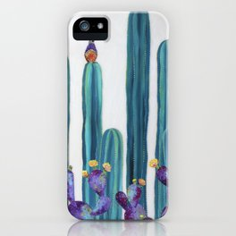Quail and Prickly Pear Cactus Desert Scene original painting by Ashley Lane iPhone Case