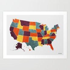 Usa colour region map Art Print