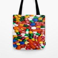 pills Tote Bags featuring PILLS,PILLS,PILLS by Asano Kitamura