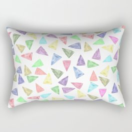 Hand painted pastel pink teal green watercolor triangles Rectangular Pillow