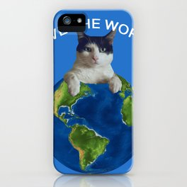 Save the world black and white cat Globus iPhone Case