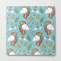 Magical Unicorn Pattern on turquoise background by victorys