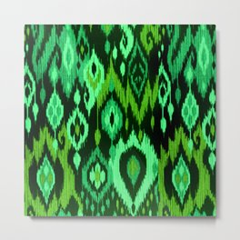 MODERN IKAT TRIBAL PATTERN | green Metal Print