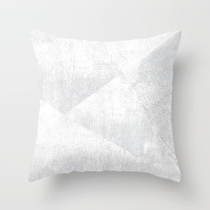 White and Gray Lino Print Texture Geometric Throw Pillow