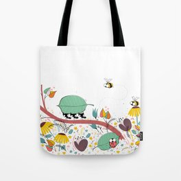 Three Ants in a Row Tote Bag