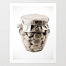 BW Canned Broad Beans Art Print