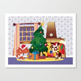 Merry Christmas Cat and Dog Canvas Print