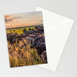 Sunset and Smoke from Controlled Burning at Ubirr Rock, Australia. Stationery Cards