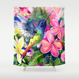Hummingbird and Plumeria Florwers Tropical bright colored foliage floral Hawaiian Flowers Shower Curtain
