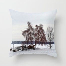 Weeping Willow on the Frozen Lake Throw Pillow