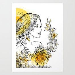 nature flower woman Art Print