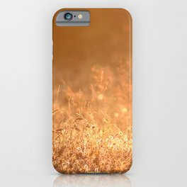 Golden grass field in the summer mountain, sunset wildflowers iPhone Case
