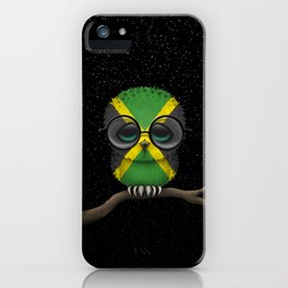Baby Owl with Glasses and Jamaican Flag iPhone Case