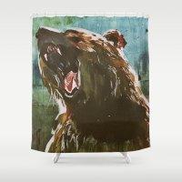 teddy bear Shower Curtains featuring TEDDY by Tina Yu