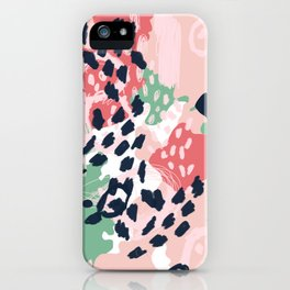 Leia - abstract painting cute minimal navy coral mint pastels painterly boho chic decor iPhone Case