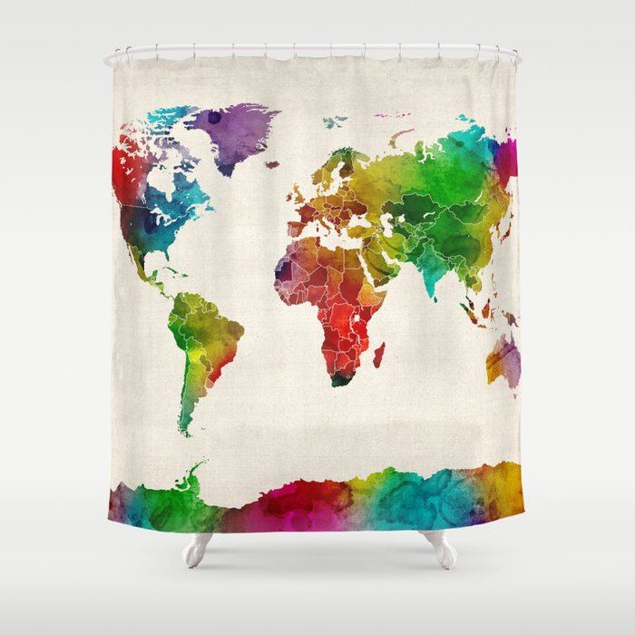 Watercolor map of the world map shower curtain by artpause society6 watercolor map of the world map shower curtain gumiabroncs Choice Image