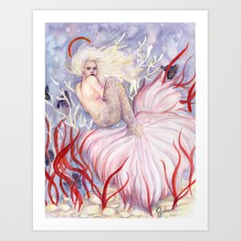 Mermaid with Guppy tail Art Print