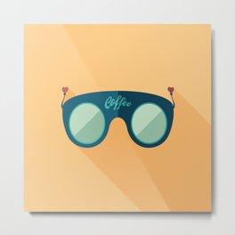 Blue Coffee Sunglasses Metal Print