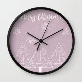 Merry Christmas Pink Wall Clock
