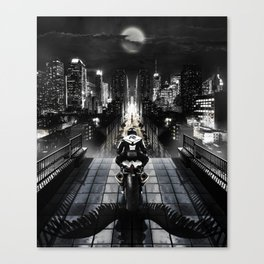 Poster with a biker on a motorcycle in the form of an angel looking into the distance of the urban v Canvas Print