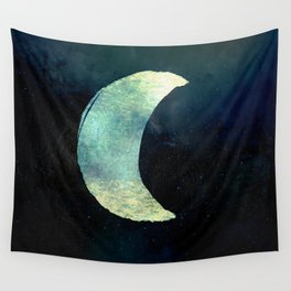 Iridescent Waning Crescent Moon Wall Tapestry