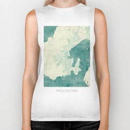 Wellington Map Blue Vintage Biker Tank
