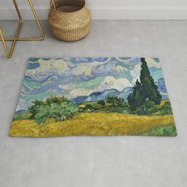 Classical Masterpiece 'Wheat Field with Cypresses' by Vincent van Gogh Rug