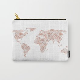 World Map Rose Gold Marble Carry-All Pouch