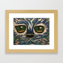 Blue and silver cat face Framed Art Print