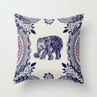 elephant Throw Pillows featuring Elephant Pink by rskinner1122