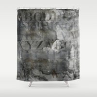 alphabet Shower Curtains featuring Alphabet by cafelab