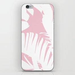 White on Pink Tropical Banana Leaves Pattern iPhone Skin