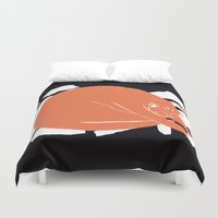 fat Duvet Covers featuring Fat Cat by The Printed Peanut