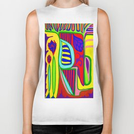 Abstract flower and shapes Biker Tank
