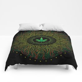 Magic plant. Marijuana leaf. mandala Comforters