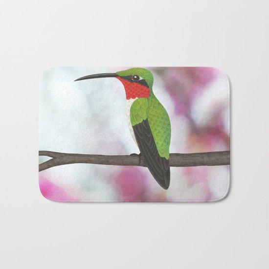 ruby throated hummingbird - male on pink bokeh Bath Mat