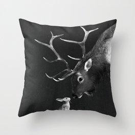 Elk and Rabbit Throw Pillow