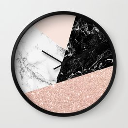 Black white marble blush pink rose gold glitter color block Wall Clock