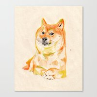 doge Canvas Prints featuring DOGE by withapencilinhand