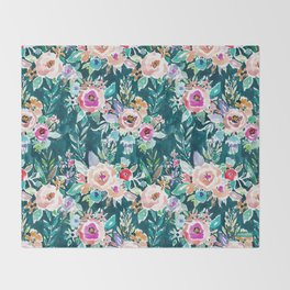 EFFUSIVE FLORAL Dark & Colorful Boho Pattern Throw Blanket