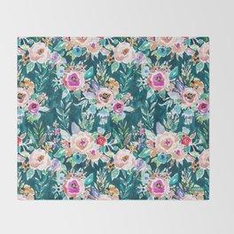 EFFUSIVE FLORAL Dark & Colorful Boho Pattern Throw Blanket