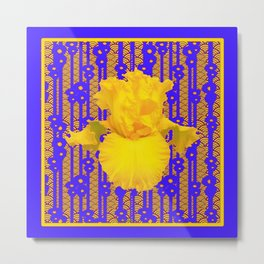 Blue-Gold Oriental Style Yellow Iris Floral Metal Print