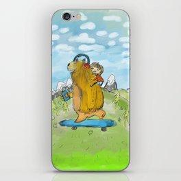 bear on skateboard iPhone Skin