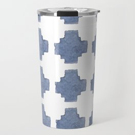 Chambray Cross Pattern Travel Mug