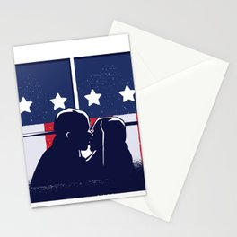 Kiss in front of American flag Stationery Cards