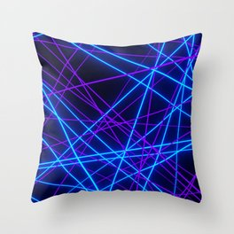 Neon Abstract Line -Blue and Purple, Black- Throw Pillow